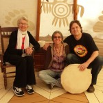 Doug, sister Jaine, and Mom, in Cath's Teepee, 10/2013.